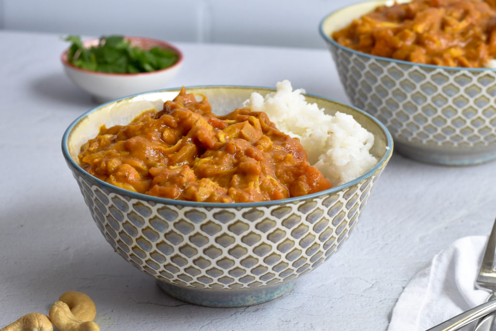 Pumpkin doesn't have to be used in just sweet recipes. Canned pumpkin puree is great in savory recipes like this pumpkin curry!