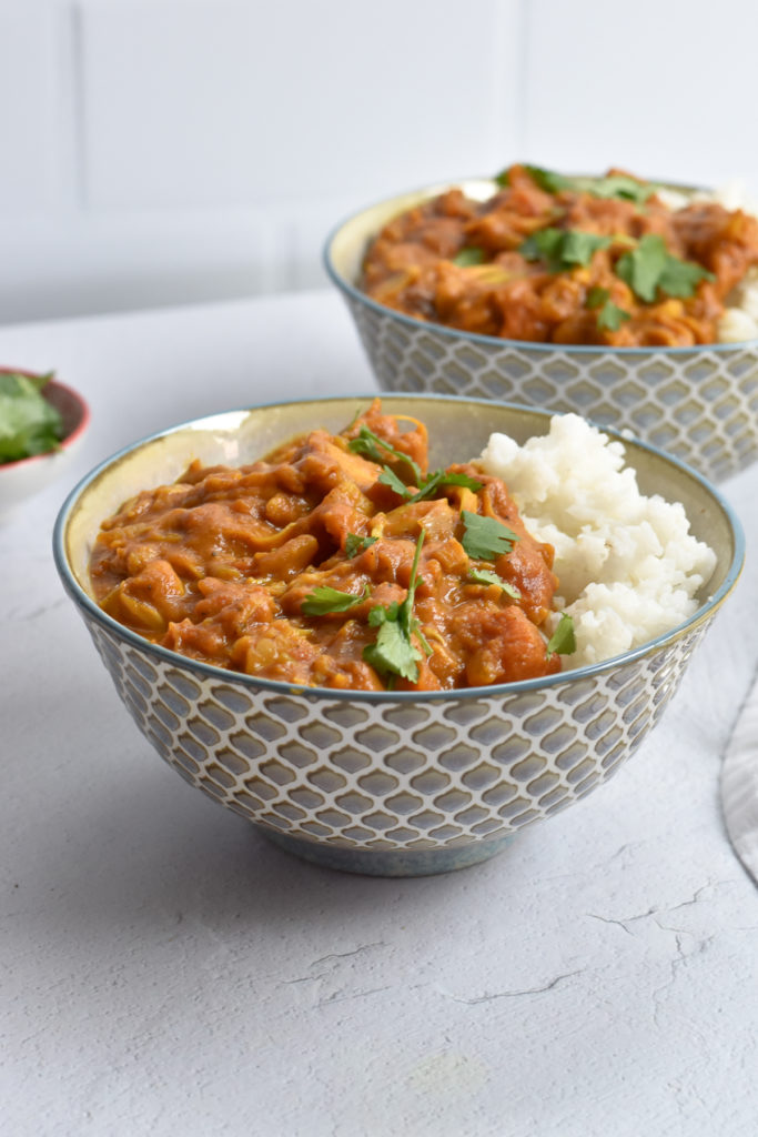 This Pumpkin Jackfruit Curry is a fall inspired curry that is perfect on a chilly night! Pumpkin helps to create a creamy and rice curry! #curry #vegan #jackfruit #dinner #vegetarian