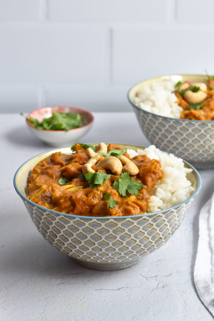 Pumpkin doesn't have to be used in just sweet recipes. Canned pumpkin puree is great in savory recipes like this pumpkin jackfruit curry! #pumpkin #jackfruit #curry #recipe #vegetarian #vegan #dinner #entree