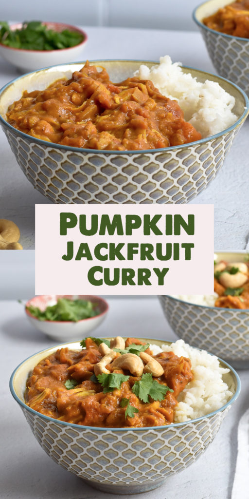 This Pumpkin Jackfruit Curry is a fall inspired curry that is perfect on a chilly night! Pumpkin creates a creamy delicious curry that's perfect served over rice! #vegan #jackfruit #vegetarian #curry #dinner #recipe #easyrecipes