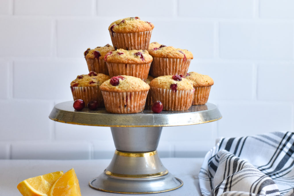 Start you morning with a sweet, fluffy muffin with a wonderful orange aroma and fresh tart cranberries.