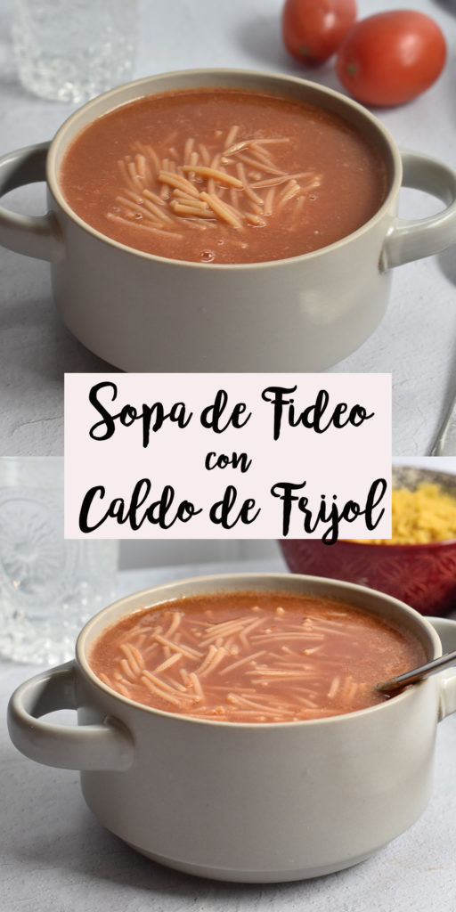 Budget friendly Mexican Sopa de Fideo con Caldo de Frijole is an easy soup recipe that even kids will love! It's easy to make too! #Mexican #veganMexican #food #recipe #receta #fideo #frijol #sopa