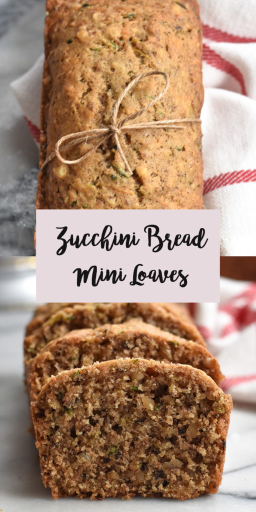Light, tender Zucchini Bread Mini Loaves with walnuts are a quick and easy quick bread that is perfect for gift giving! #vegan #zucchini #bread #dairyfree #quickbread #loaves #breakfast #dessert