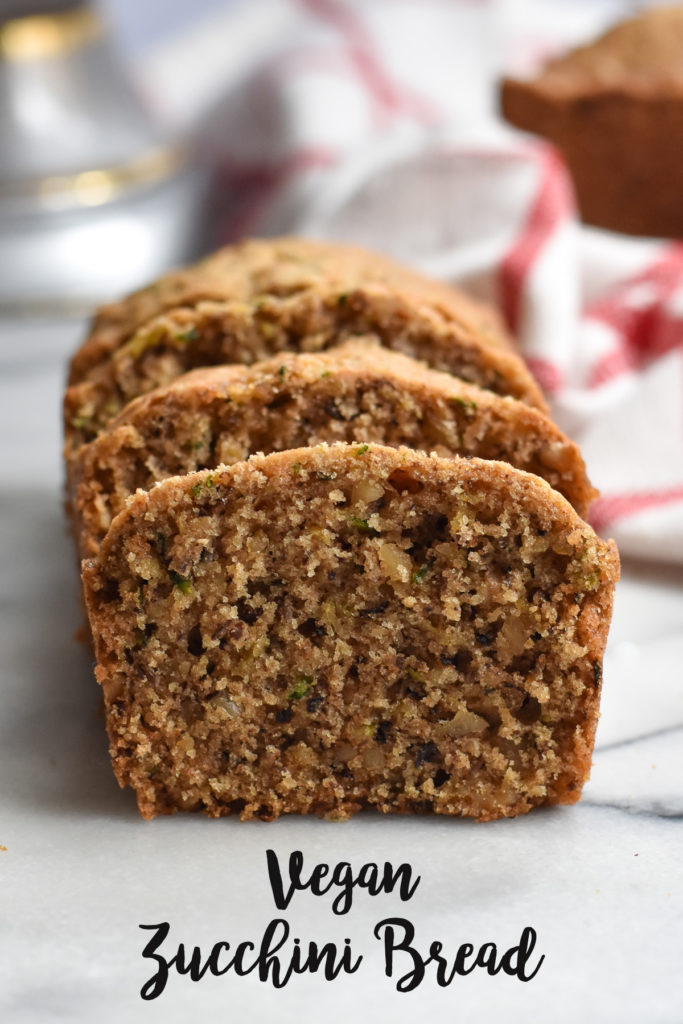 Vegan Zucchini Bread with walnuts is a tender, moist quick bread. Great for breakfast or an afternoon snack. #vegan #bread #zucchini #breakfast #quickbread