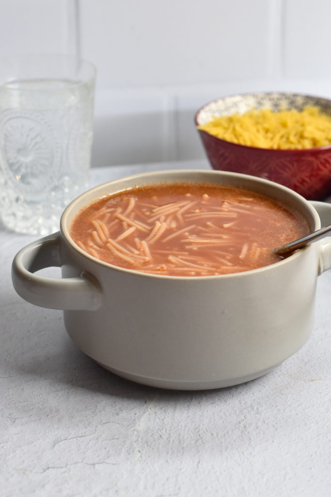 Sopa de Fideo con Caldo de Frijol {Mexican Noodle Soup with bean broth} is an easy Mexican noodle soup with uses the broth of cooked pinto beans for added flavor and nutrition.