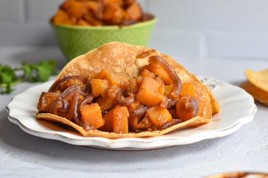 Butternut Squash taco filling is filling, hearty and great for a meatless meal.