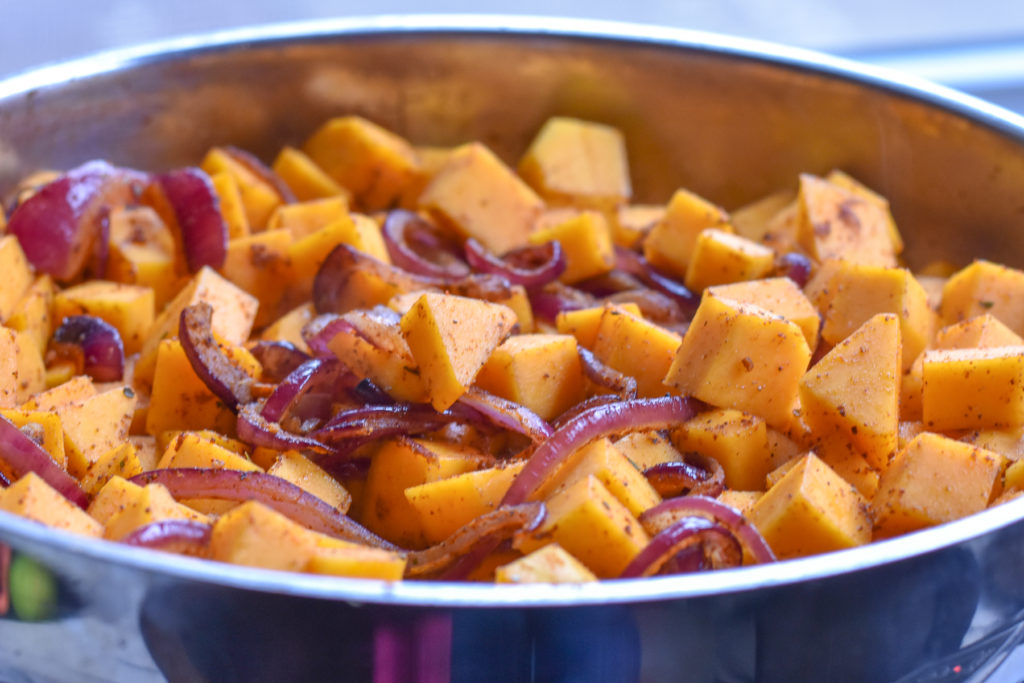 Braising the butternut squash makes it nice and tender; perfect for a taco filling.