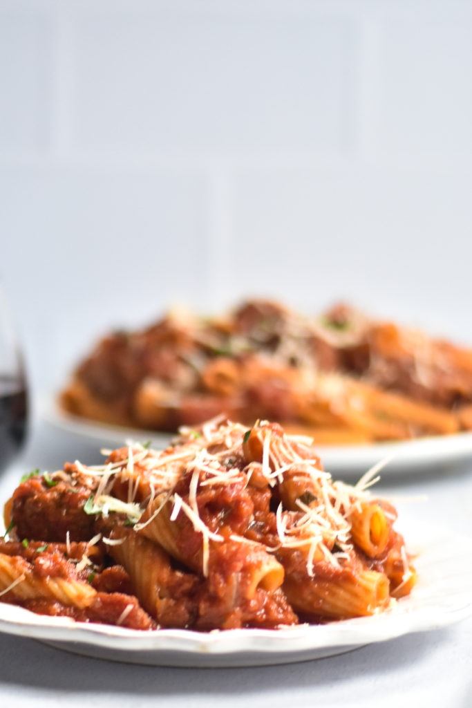 Vegan Rigatoni with meatballs is perfect when you craving something a little more comforting for dinner.