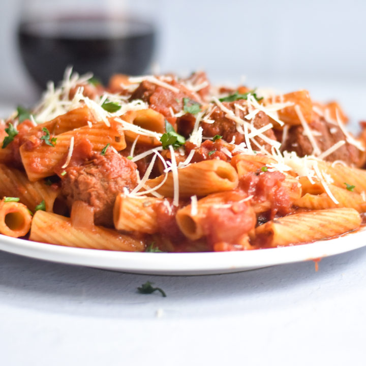 Vegan pasta with an easy tomato pasta sauce with meatballs.