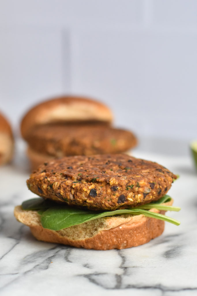Easy vegan black bean burgers with walnuts is a protein packed burger.