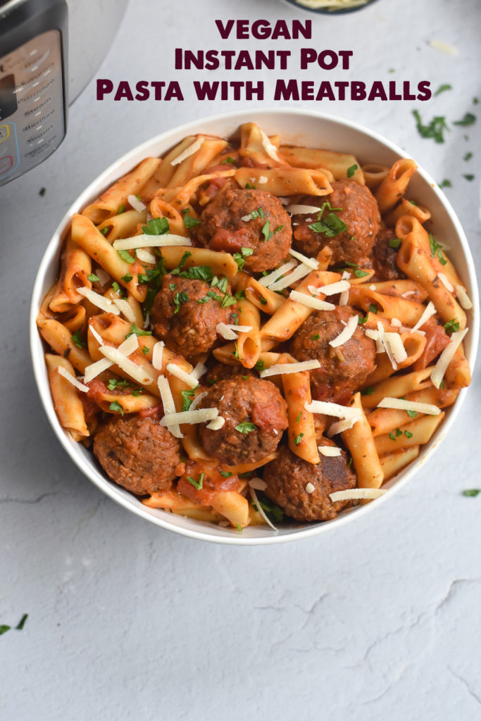 Easy Vegan Pasta with frozen meatballs made right in the Instant Pot. Super easy to make! #vegan #pasta #recipe #instantpot #dinner #easyrecipes