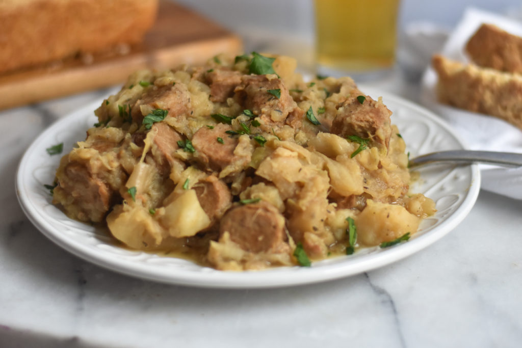 Easy Slow Cooker Vegan Kielbasa, Cabbage and Potatoes is a hearty comforting dinner recipe.