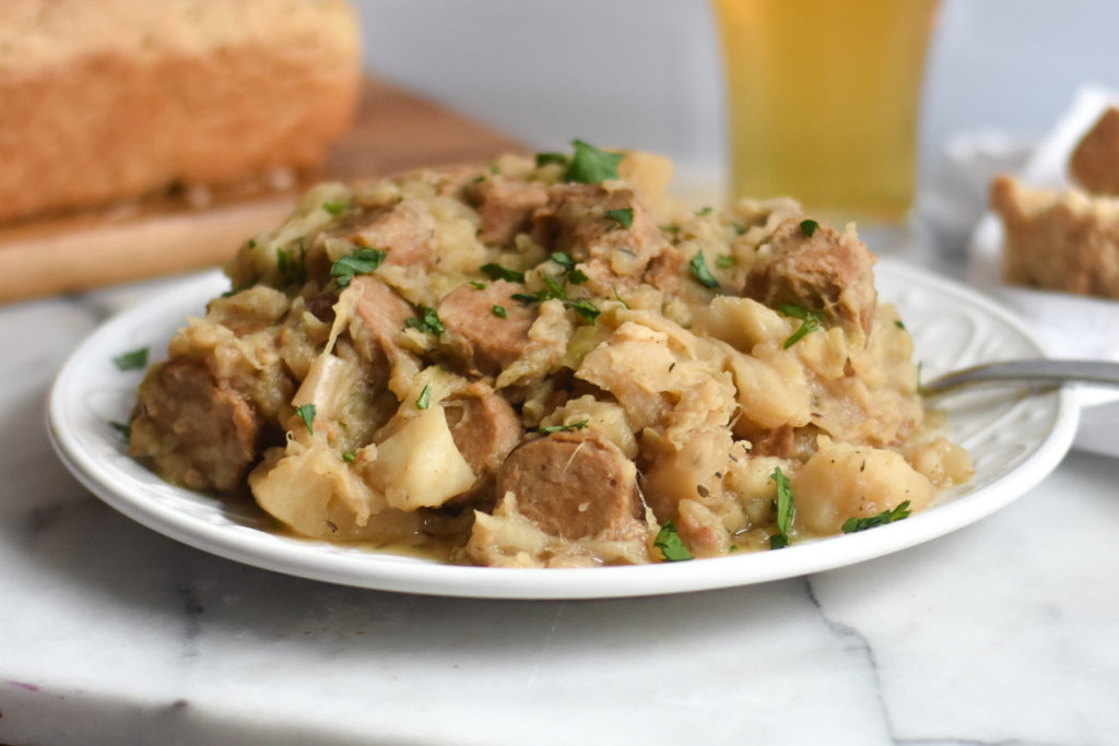 slow cooker recipe made with kielbasa, cabbages and potatoes. A simple and delicious meal.