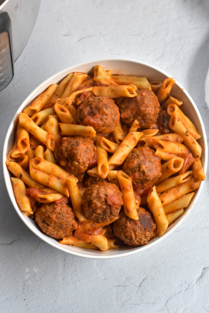 Pasta with meatballs is an easy meal made in the Instant Pot.