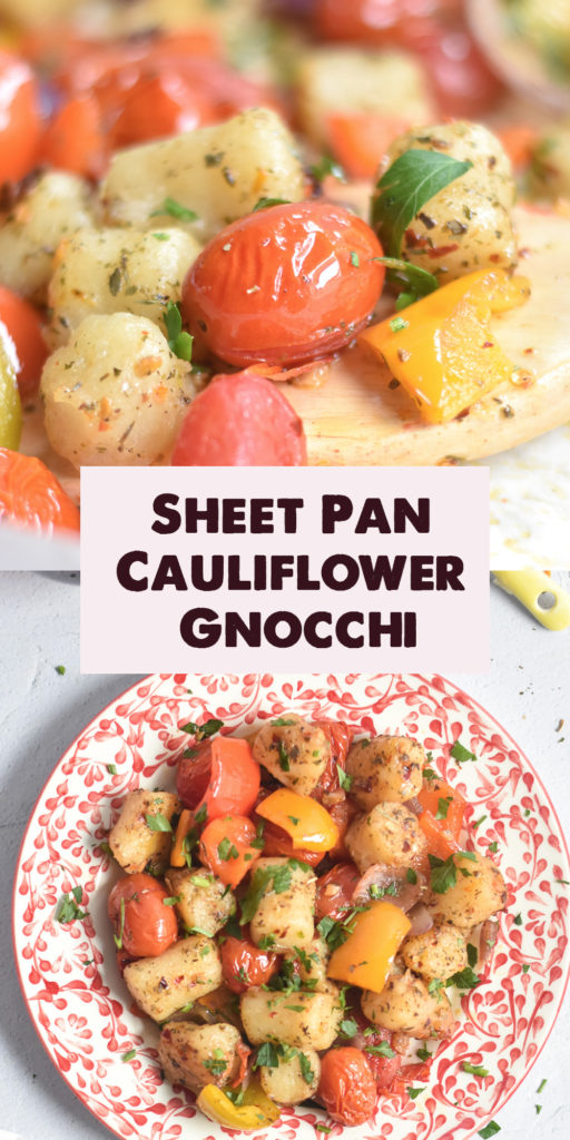 A quick and easy sheet pan dinner made with cauliflower gnocchi, vegetables and spices. Dinner just got easier with this sheet pan dinner! #vegan #vegetarian #sheetpan #gnocchi #easy #recipes