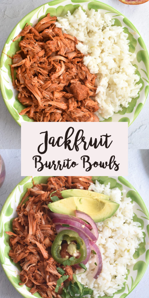 Vegan burrito bowls are loaded with jackfruit simmered in a flavorful Mexican chile sauce, classic Mexican white rice and topped with pickled red onions and jalapeños. #vegan #Mexican #jackfruit #burrito #recipes #VeganMexican