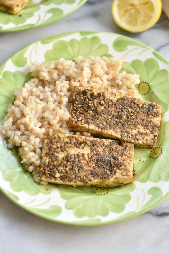 Easy marinated tofu with fresh lemon juice, garlic, olive oil and za'atar.