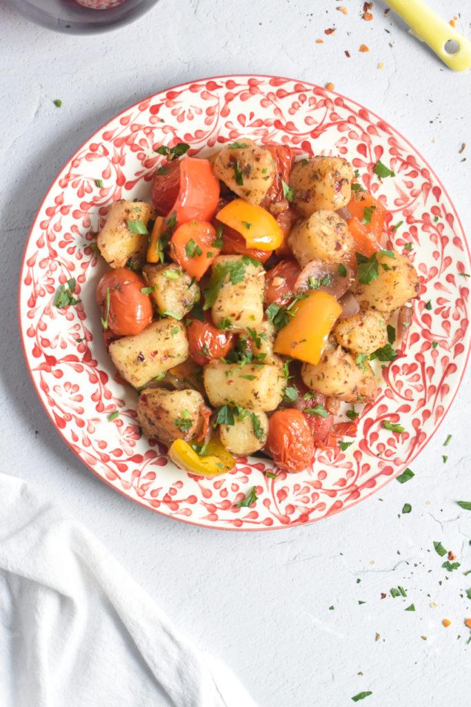 Easy vegan sheet pan dinner! #vegan #dinner #recipe