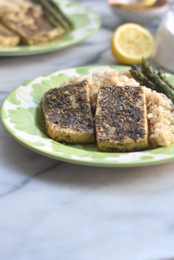 Baked Za'atar Tofu is not lacking in flavor! Tofu is marinated in fresh lemon juice, olive oil, lots of garlic and za'atar.