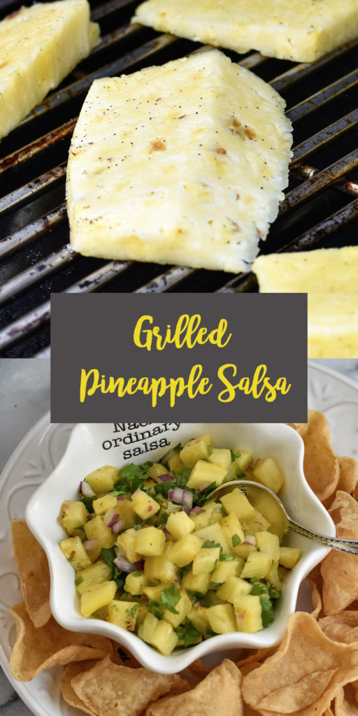 Grilled Pineapple Salsa is the perfect fruit salsa for summer.  This grilled fruit salsa is sweet, a little spicy and sour. Perfect for ship dipping or on tacos! #salsa #Mexican #grilling #vegan #pineapple #summer #cincodemayo