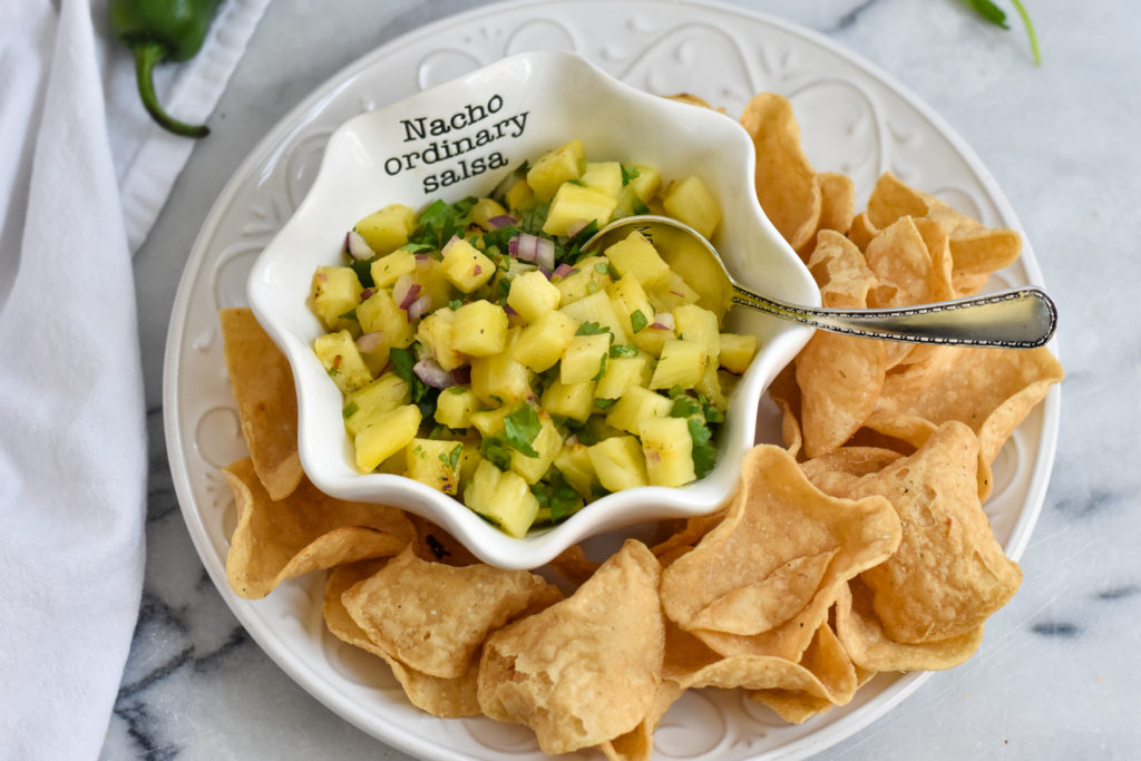 Grilled Pineapple Salsa is the perfect fruit salsa for summer.  This grilled fruit salsa is sweet, a little spicy and sour.