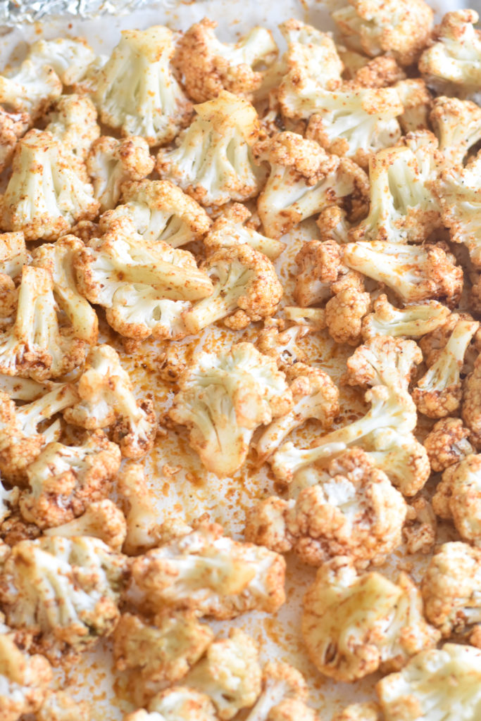 Roasting cauliflower with a delicious spice blend.
