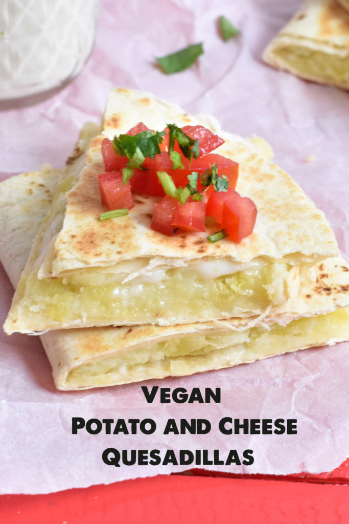 Quick and easy vegan quesadilla. Flour tortillas are filled with a potato mash and vegan cheese. #vegan #Mexican #VeganMexican #recipes #lunch #food #kidfriendly #dairyfree