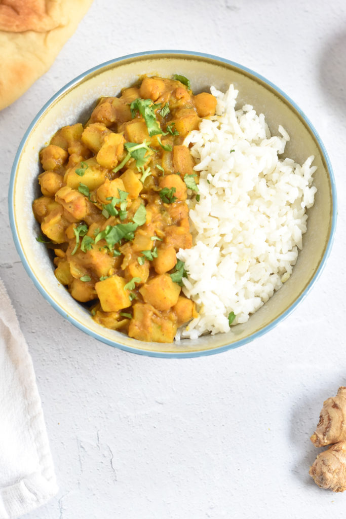 Curry made with potatoes and chickpeas is a hearty, comforting meatless entree.