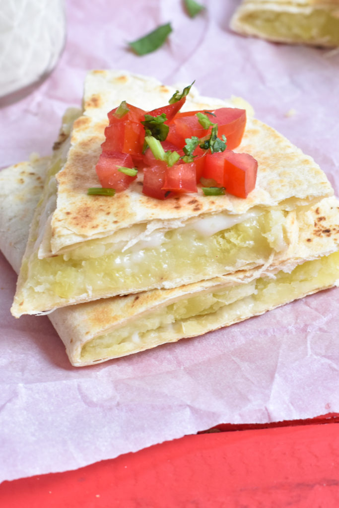 How to make easy potato and cheese quesadillas.