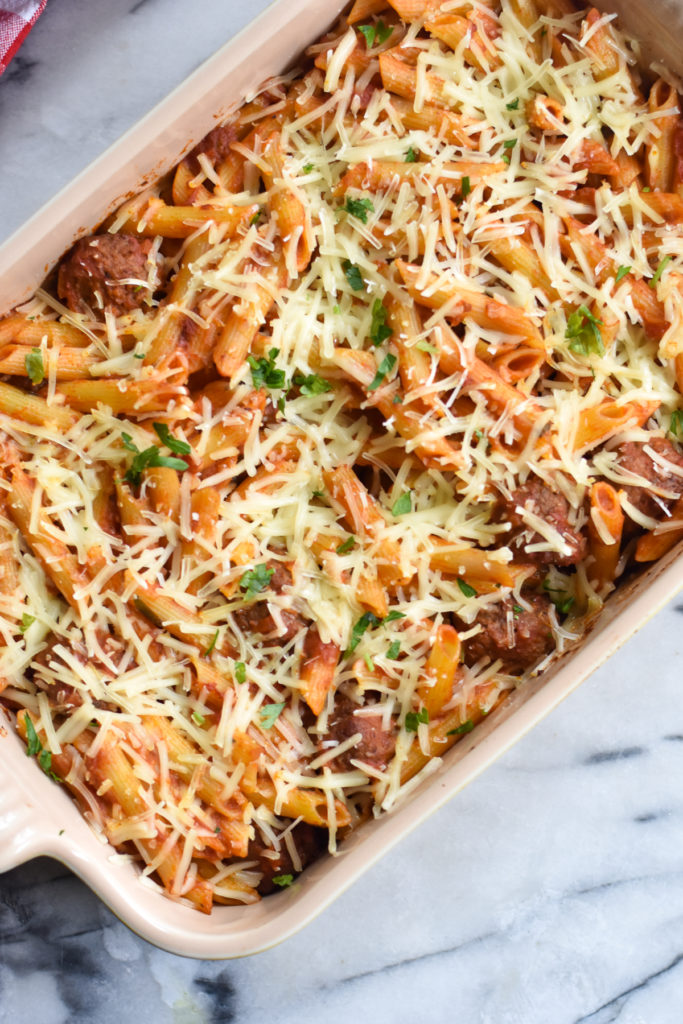 Vegan baked pasta recipe with meatballs is a comforting dinner option.