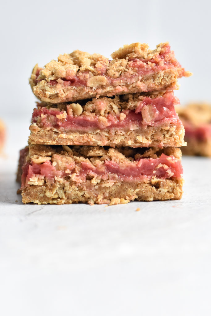 Rhubarb Crumb Bars are the perfect portable sweet treat for any potluck or picnic.