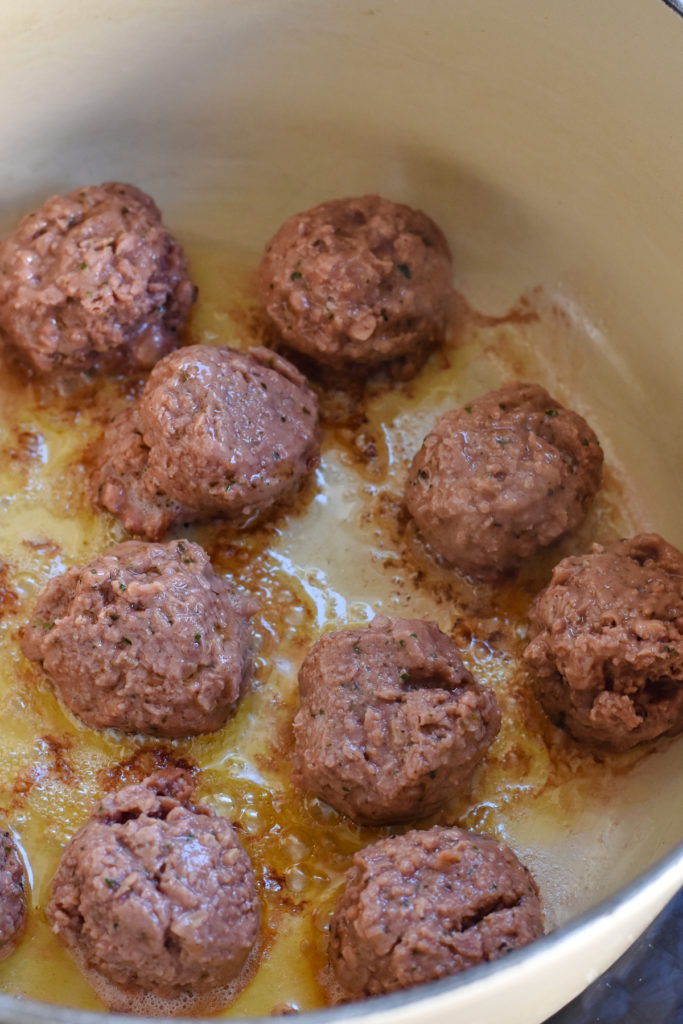 Browning the vegan meatballs for the pasta.