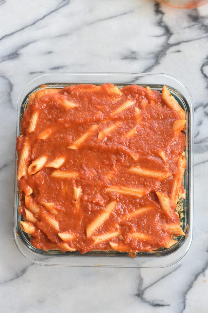 Vegan Baked Pasta Recipe with ricotta and zucchini.