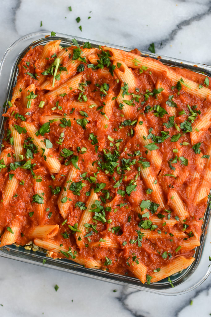 This Vegan Baked Pasta with Zucchini is perfect if you are looking for an easy, budget-friendly meal that the whole family will love.