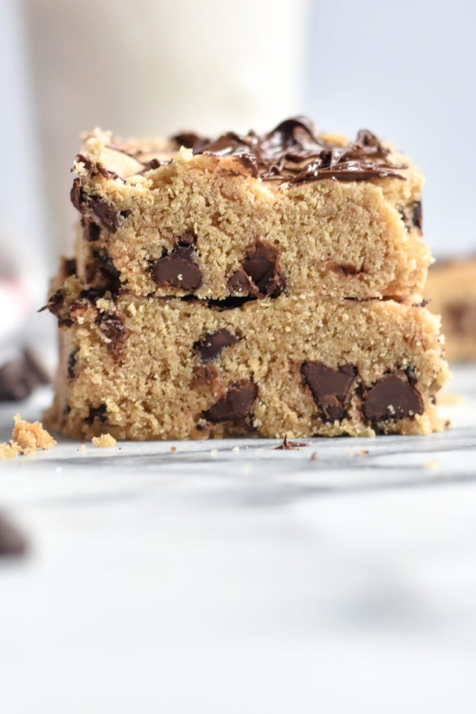 Chocolate Chip Cookie Bar with chocolate drizzle is a delicious, sweet treat that is dairy-free and egg-free.