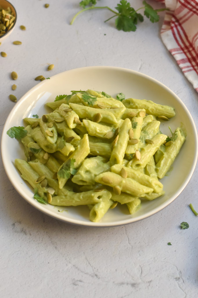 Avocado pasta is ready in less than 30 minutes. Perfect for an easy weeknight meal.