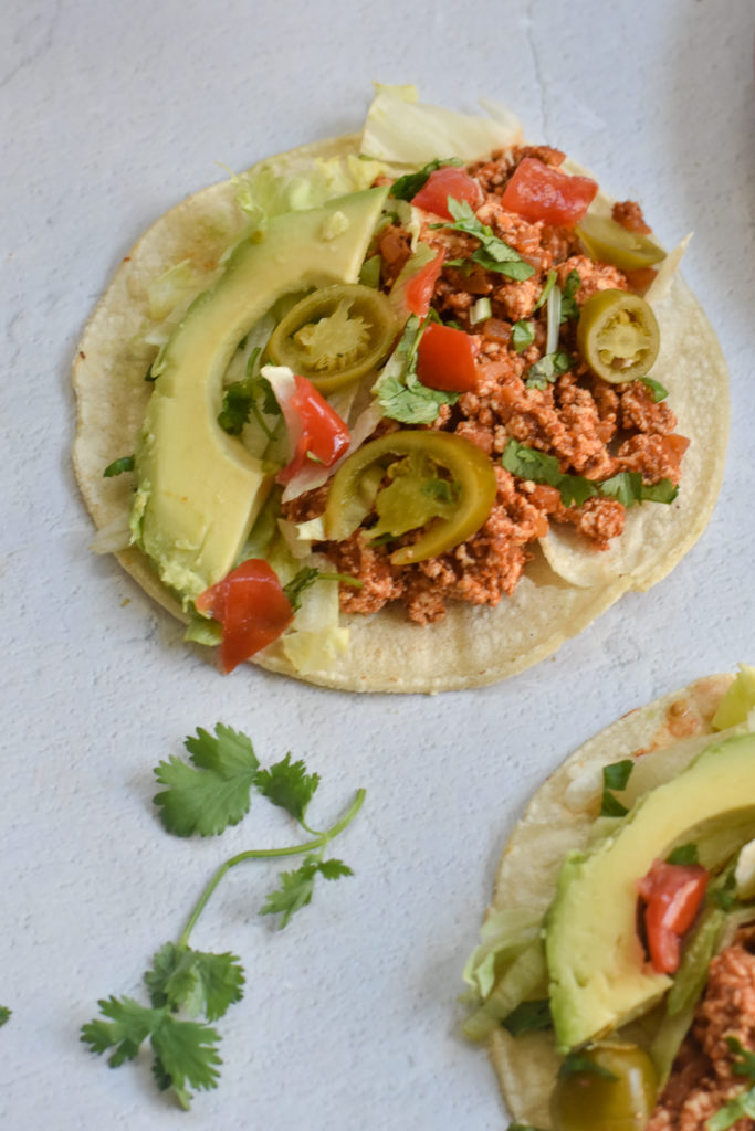 healthy tofu tacos made on the stovetop. Made with a DIY homemade taco seasoning