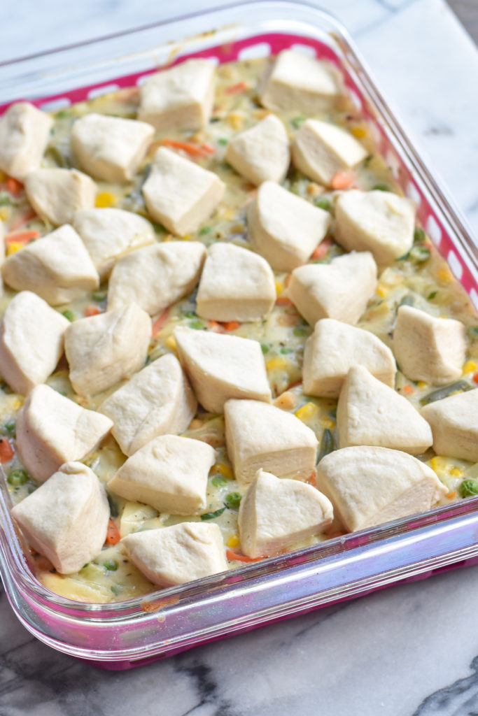 Biscuit topped veggie pot pie with chickpeas and vegetables