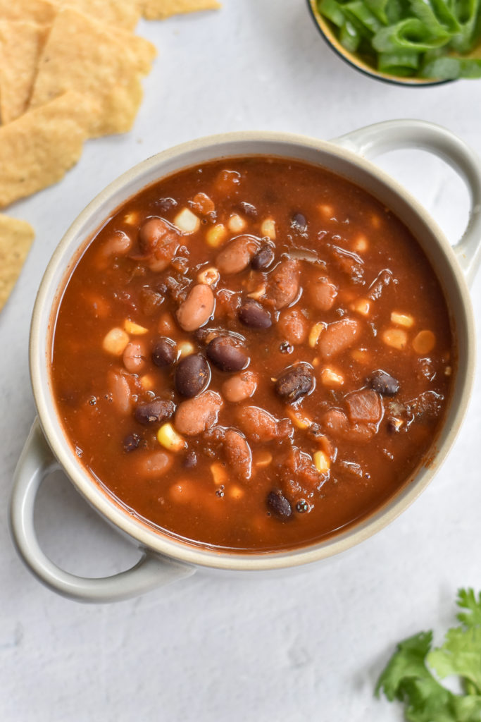 5 ingredient taco soup made in the crockpot.