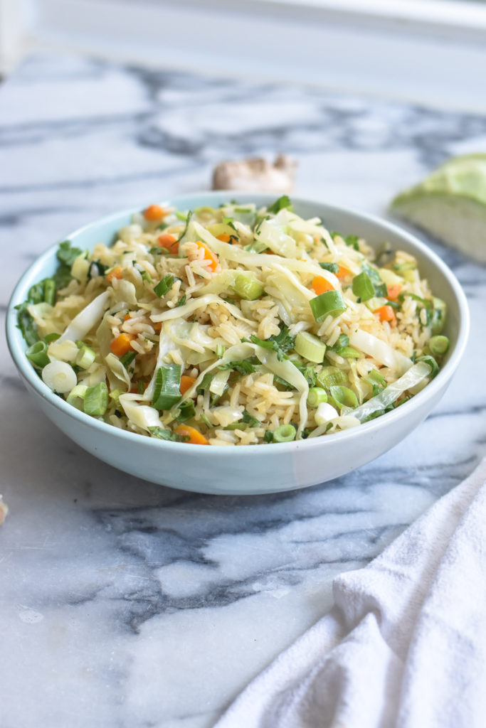 An easy fried rice recipe made with shredded cabbage.