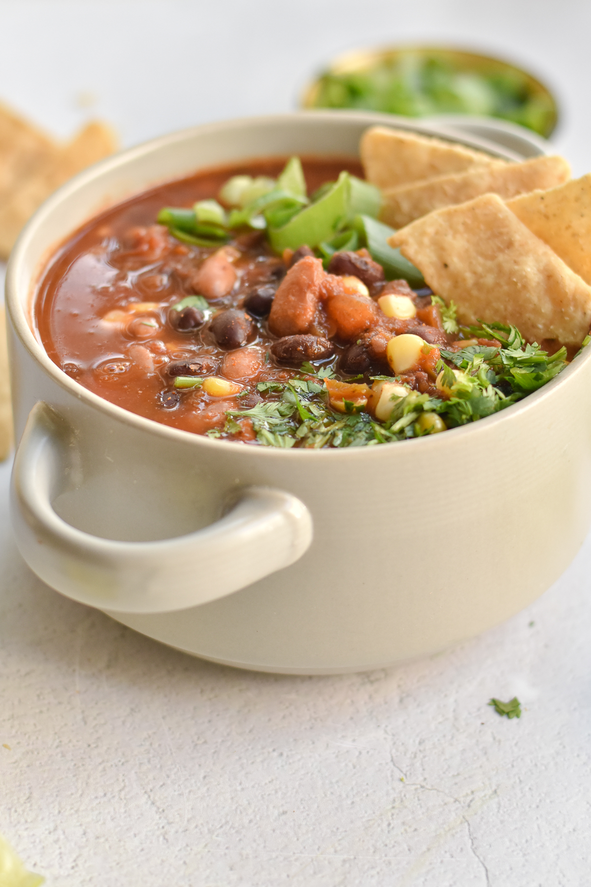 This Slow Cooker Vegan Taco Soup couldn't be any easier. Simply, add all the ingredients to the crockpot and let it do all the work for you.