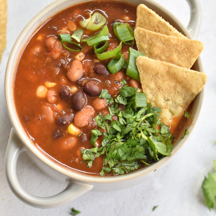 Easy taco soup uses pantry staples and takes a few minutes to prep.