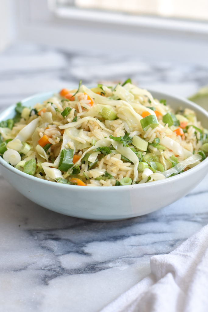 Have leftover rice? This easy Vegan Cabbage Fried Rice is a great way to use up any leftover rice.