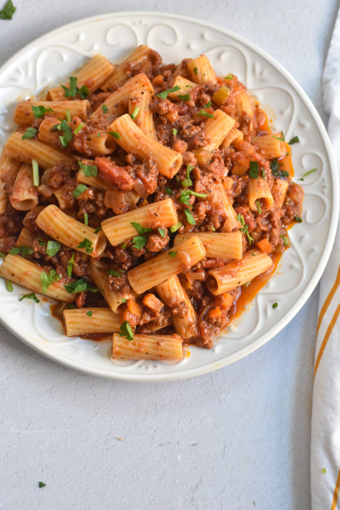 rigatoni is tossed in rich, flavorful eggplant and mushroom tomato sauce. Red wine and balsamic vinegar add a really nice flavor to the sauce.